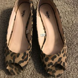 Cheetah Print Open Toe Flats